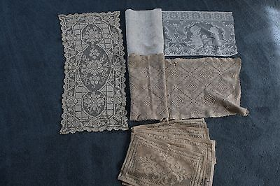 dealer Lot Of 7 Handmade rUNNERS panel  Crochet Doily Tablecloth FIGURAL