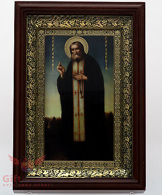 Wooden & basma frame Christian Icon of Saint Seraphim of Sarov Серафим Саровский
