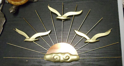 "Vintage Mid-Century Brass Birds in Flight Over the Sun 18"" Metal Wall Art Copper"