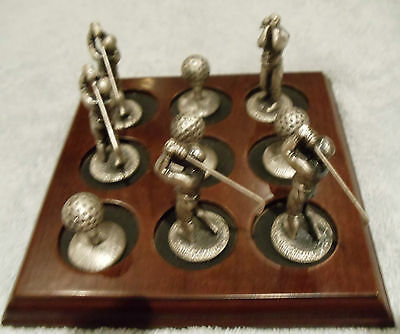 "Golf Players & Balls Set on Wooden Base (5.5""x5.5"") Pewter Figures Desk Office"
