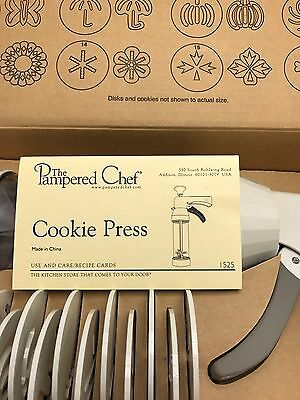 Pampered Chef Cookie Press Pastry 1525 16 DISK COMPLETE Cheese Straws RETIRED