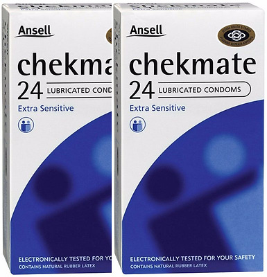 * 2 X Ansell Chekmate Lubricated Condom 24 Condoms Total 48 Pk