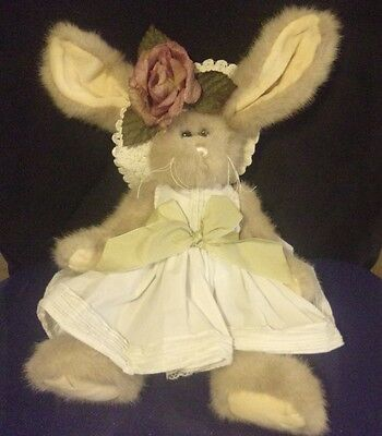 """The Bearington Bear Collection Plush Bunny Rabbit 14"""" Easter Hat with Flower"""