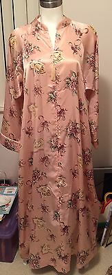 Vintage Christian Dior Sleek Ice Pink Floral Dressing Gown Long Robe  Size L