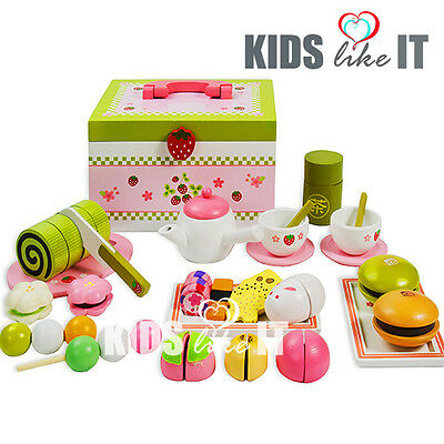 Kids GIRLS Wooden Japanese AFTERNOON GREEN TEA Cup PARTY Pretend Play TOY SET
