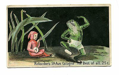 Victorian Trade Card RICKSECKER 5TH AVENUE COLOGNE Dancing Frog