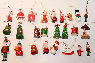 Vintage Wooden Christmas Ornaments Lot Of 25 Figural Painted Taiwan Angel Tree