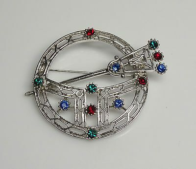 Vintage Blue/Red Rhinestone Scottish/Celtic PENANNULAR Kilt Brooch/Pin- ESTATE