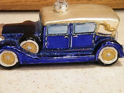 Old World Classic Blue Car Christmas Ornament