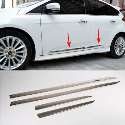 Fit For 12- Ford Focus Mk3 Chrome Side Door Lining Body Molding Trim Cover Strip