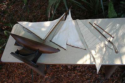 Wood model ship large scale sailing tall boat about 3 FEET simple elegant TLC