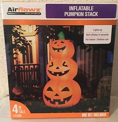 Halloween Inflatable PUMPKIN PATCH 4' Lighted Outdoor Yard Decoration New In Box