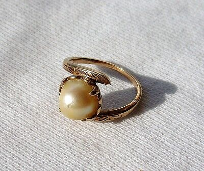 Antique 10K Yellow Gold Large Pearl Covered Insert Ring Size 4 1/2 Vintage
