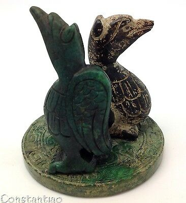 2 Beautiful Green Birds On Green Amulet Old Chinese Jade Hand Carved