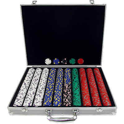 Poker Playing Cards 1000 Chips, 13g Texas Hold em Clay Casino with Aluminum Case