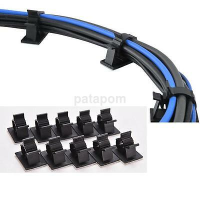 10x Cable Clips Adhesive Cord Management Organizer Wire Holder 10mm Clamp Black