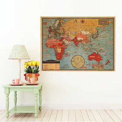Vintage Map Of The World Wall Poster Decor Poster Antique World Map Kraft Paper