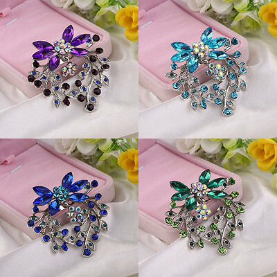 Womens Plated Rhinestone Crystal Flower Wedding Bridal Bouquet Brooch Pin AU