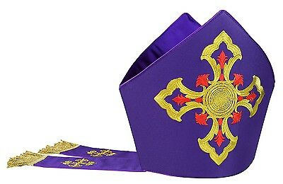 Violett  Mitra, Mitre,Kasel,Messgewand,Casule, Chasuble, Vestment M4-F
