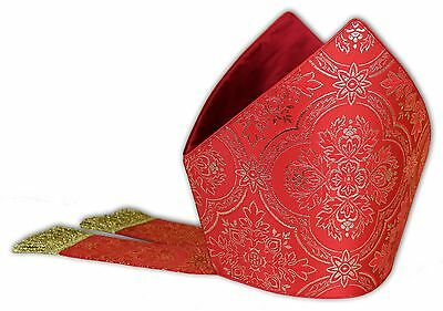 Rot Mitra, Mitre,Kasel,Messgewand,Casule, Chasuble, Vestment MC-14