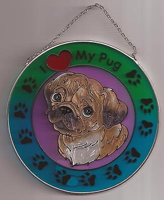 """Stained Glass Round Metal Sun Catcher D'Lites Dog Pug Design, NEW #6199 H-6"""" OoP"""