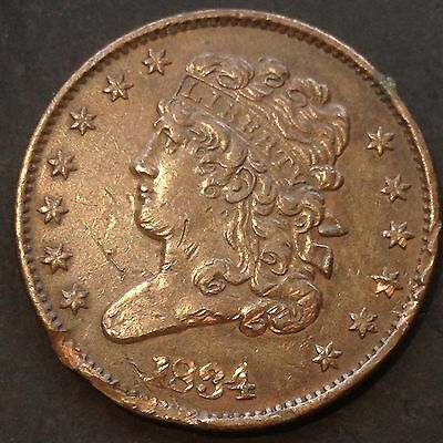1834 Classic Head Half Cent nice coin XF Details 1/2 Cent 4017