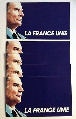 FRANCOIS MITTERRAND_LA FRANCE UNIE_1988_5 AUTOCOLLANTS 8x14_LOT 1