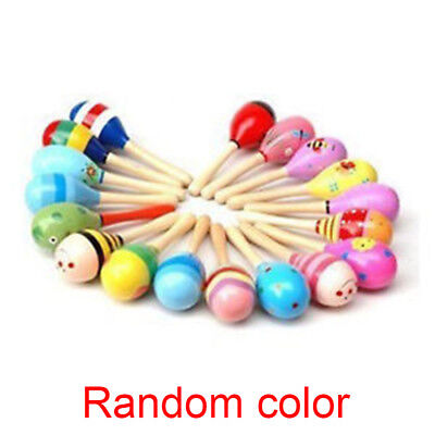 Baby Newborn Gift Rattle Shaker Musical Wooden Maraca Instrument Colorful Toys