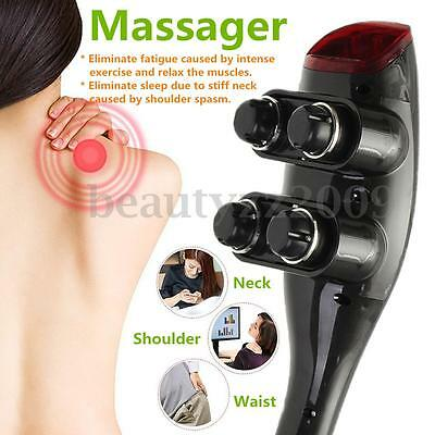 Four Head HandHeld Massager with 12 Attachments Full Body Infrared Massage Stick