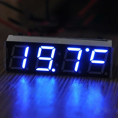 Blue Car Auto Digital LED Electronic Time Clock + Voltmeter + Thermometer