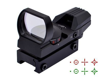 Gun Tactical Reflex Red Green Dot Holographic Sight Scope for 20mm Rails Reticle