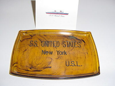 SS UNITED STATES LINES  Lucite Change Tray  /  Excellent Condition