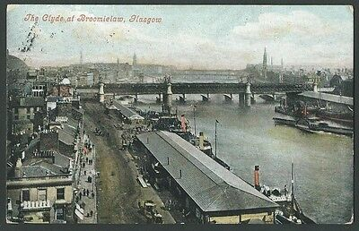 Glasgow The Clyde At Broomielaw 1906 Valentine Printed Postcard