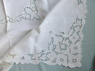 Antique style linen hand embroidered cutwork lace tea tablecloth
