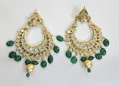 Vintage antique solid 20k Gold jewelry Diamond Polki Enamel work Earring Pair