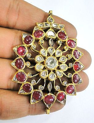 Vintage antique solid 20k Gold jewelry Diamond Polki Ruby Enamel Work Pendant