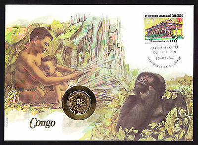 1984 Congo Stamp Cover & Coin Africa African Native family with Primate Gorilla?