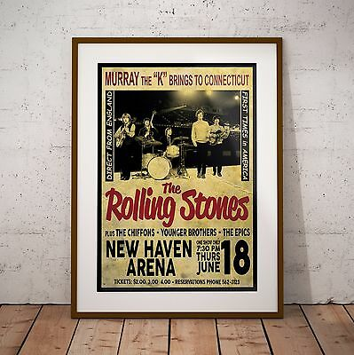 The Rolling Stones 1964 Early USA Concert Poster Print Three Sizes NEW Exclusive