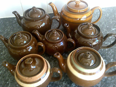 BROWN BETTY TEAPOTS COLLECTION x 7 WITH LIDS 1 WITHOUT 8 IN TOTAL GOOD CONDITION