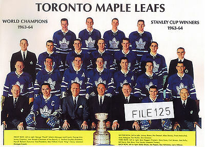 1963-64 Toronto Maple Leafs Stanley Cup Champions Picture