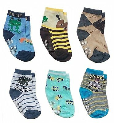 Deluxe Anti Non Skid Slip Slippery Crew Socks For Baby Toddler Kids Boys 2-4 6