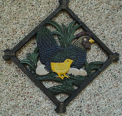 Vintage Cast Iron Chicken Trivet Hot Plate Or Wall Decor For Cabin Hen Chick Egg