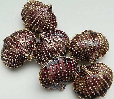 5 Cloisonne Beads, Burgundy/Gold. Shell, 20 mm. Jewellery Making/Crafts