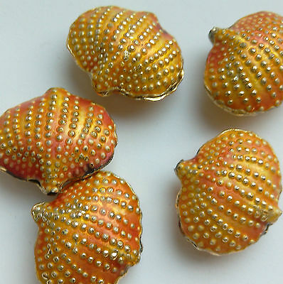 5 Cloisonne Beads, Salmon Pink/Gold. Shell, 20 mm. Jewellery Making/Crafts