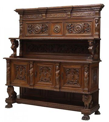 ITALIAN RENAISSANCE STYLE HEAVILY CARVED SIDEBOARD antique early 1900s