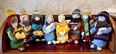 New Hand Knitted Christmas Nativity Scene Very Detailed Group Of 9 Characters