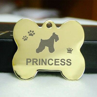 Double Sided Engraved Pet ID Tags stainless steel Dog tag Cat Name Tags--Gold