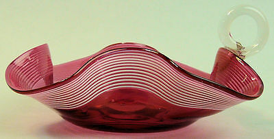 A Fine Victorian Antique Cranberry & White Trailed Glass Dish C.1890
