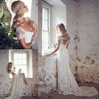 New Vintage White Ivory Lace Bridal Gown Wedding Dress Custom Size 6 8 10-12-14+