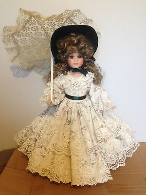 """Victorian Style porcelain Doll and Umbrella 18"""" with stand"""
